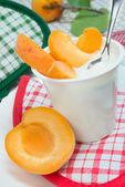 Yogurt with apricots — Stock Photo