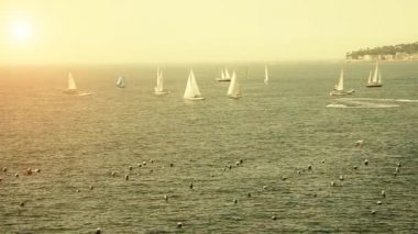 Sailboats in the Bay of Naples — Stock Video