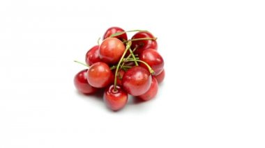 Cherries on white background — Stock Video