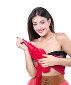 Expressive beautiful brunette girl smiling on white background — Stock Photo
