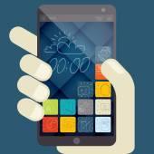 Concept pour des applications mobiles, design plat — Vecteur