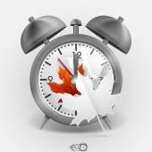 Metal Classic Style Alarm Clock — Stock Vector