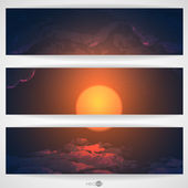 Sunset, Sunrise With Clouds — Stock Vector