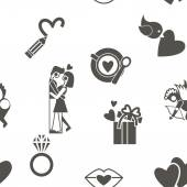 Romantic Seamless with Symbols of Valentines Day — Vettoriale Stock