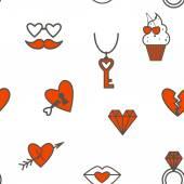 Romântica sem costura com símbolos do dia dos namorados — Vetor de Stock