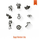 Happy Valentinstag Symbole — Stockvektor