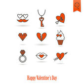 Happy Valentines Day Icons — Stockvektor