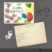 Old Postcard Design, Template — Stock Vector