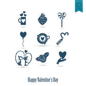 Happy Valentines Day Icons — Stock Vector