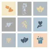 Feliz día de san valentín iconos — Vector de stock