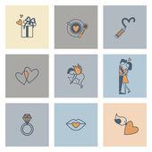 Szczęśliwy dzień valentines ikony — Wektor stockowy
