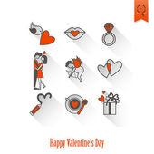 Happy Valentines Day Icons — Vector de stock
