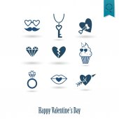 Happy Valentines Day Icons — Vettoriale Stock