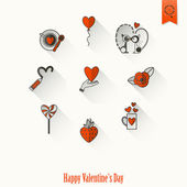Happy Valentines Day Icons — Stockvector
