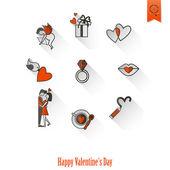 Glad Alla hjärtans dag ikoner — Stockvektor