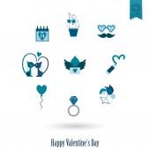 Happy Valentines Day Icons — Vettoriale Stock