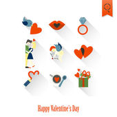 Happy Valentijnsdag pictogrammen — Stockvector