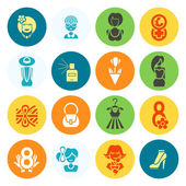 Womans Day Icon Set — Stock Vector
