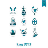 Set of the Easter Icons — Stock Vector