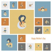 Happy Mothers Day Icons — Stock Vector