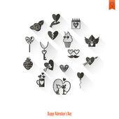 Happy Valentines Day Icons — Vetor de Stock
