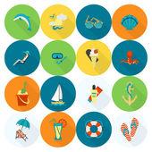Verão e praia ícones planos simples — Vetor de Stock