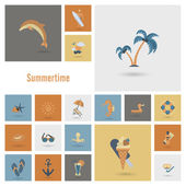 Summer and Beach Simple Flat Icons — Stock Vector