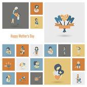 Happy Mothers Day pictogrammen — Stockvector