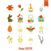 Celebration Easter Icons — Stock Vector