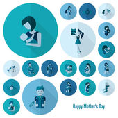 Icone di giorno di madri felice — Vettoriale Stock