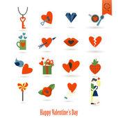 Счастливые символы Дня святого Валентина — Cтоковый вектор