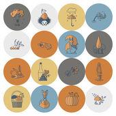 Set of Flat Autumn Icons — Stock Vector