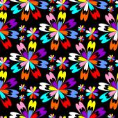 Bright flower seamless Pattern with colorful Flowers on black — Stock Vector