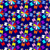 Bright flower seamless Pattern with colorful Flowers on blue. — Stock Vector