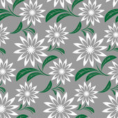 Seamless  abstract flower Pattern on gray — Stock Vector
