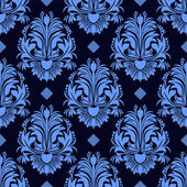 Seamless floral damask Wallpaper in blue colors — Stock Vector