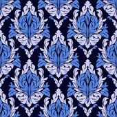 Seamless ornamental  floral Pattern in blue colors. — Stock Vector