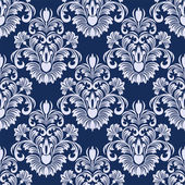 Seamless damask floral Pattern in blue colors. — Stock Vector