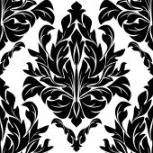 Black seamless floral Ornament on white. — Stock Vector