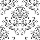 Seamless floral black damask Ornament on white. — Vecteur