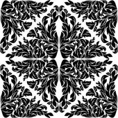 Black seamless floral  Pattern on white. — Vettoriale Stock