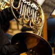 Hands of the man playing the French horn — Stock Photo #77044843