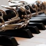 Fragment of a clarinet lying on piano keys — Stock Photo #77044901