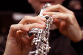 The fingers of the person playing the oboe — Stock Photo