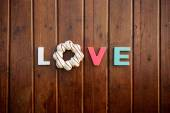 Word love on the wooden table — 图库照片