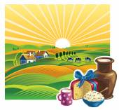 Summer  landscape with a set of dairy products — Stock Vector