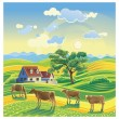 Rural summer landscape and cows. — Stock Vector #61780597