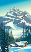 Mountain tourist base. — Stock Vector