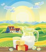 Landscape and dairy products. — Stock Vector
