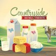 Dairy products and landscape with cow — ストックベクタ #69897113